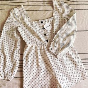 New w/ tags! White polka dot playsuit